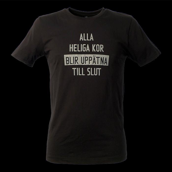 Alla heliga kor blir uppätna till slut. Svart t-shirt, man, kläder, sekulär, ateist