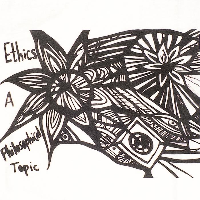 Ethics - A Philosophical Topic, detalj, vintage washed vit t-shirt, man, kläder, sekulär, ateist