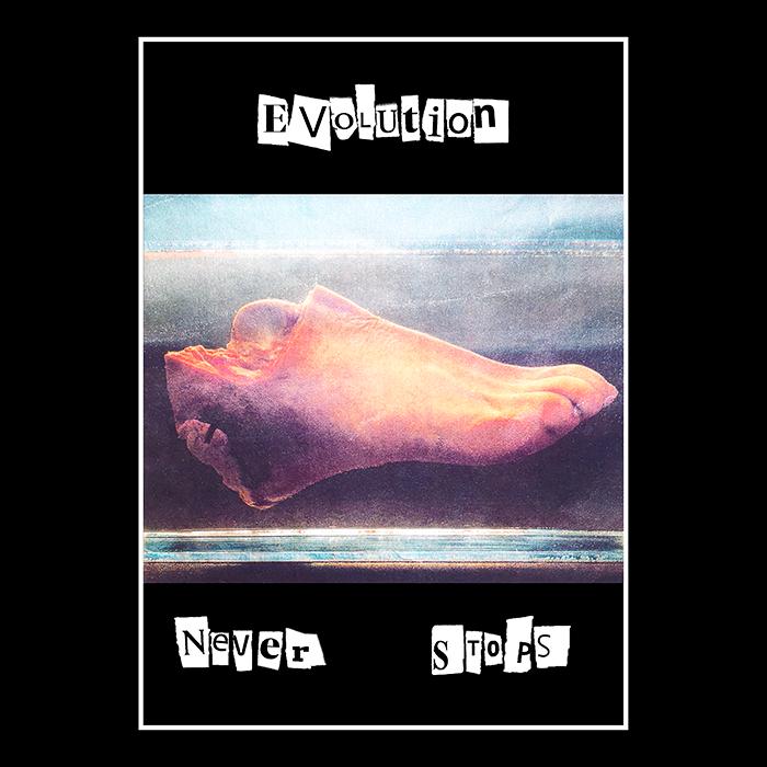 Evolution Never Stops-Svart t-shirt, detalj, kläder, sekulär, ateist