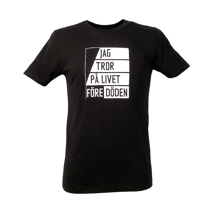 Jag tror på livet före döden. Svart t-shirt för sekulära och ateister m.fl. Finns i både herr och dam.