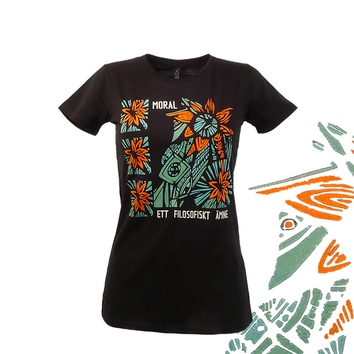 Moral -ett filosofiskt ämne. Svart t-shirt, kvinna. Ett pågående projekt för sekulära såväl som ateister m.fl.
