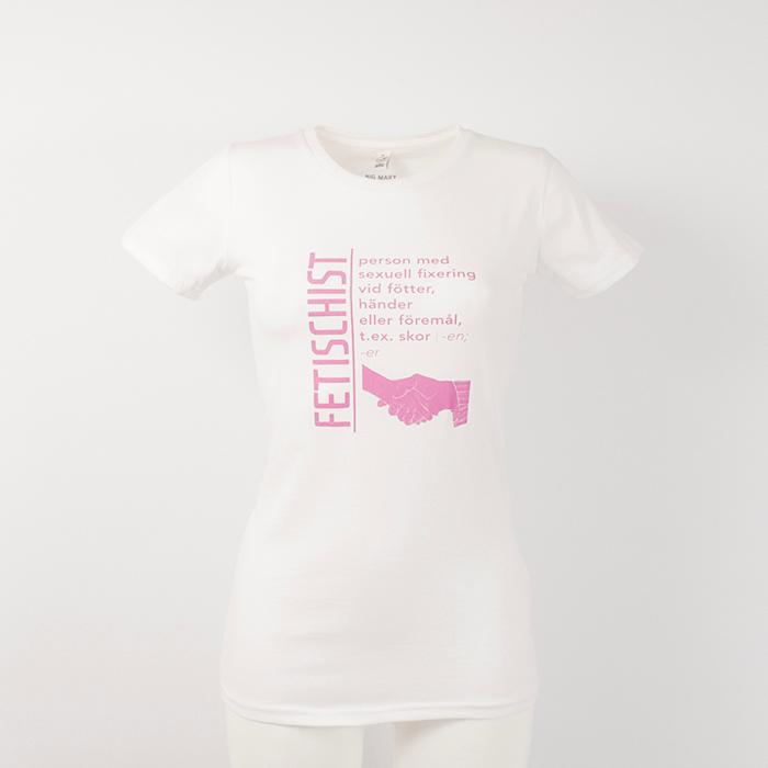 Fetischist-person med sexuell fixering vid händer, fötter eller föremål t ex skor. Vit t-shirt kvinna.
