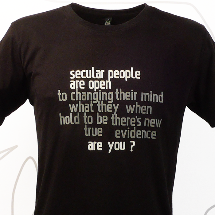 Secular people are open. Are you? Svart t-shirt detalj, man, boys, kläder, sekulär, ateist