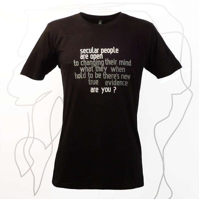 Secular people are open. Are you? Svart t-shirt, man, boys, kläder, sekulär, ateist