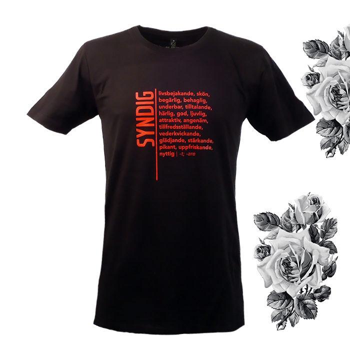 Syndig - livsbejakande, skön, begärlig, behaglig, härlig, god, svart t-shirt för humanist, sekulär, ateist i jakt på design, ordbok, ordbokstee, kläder, statement